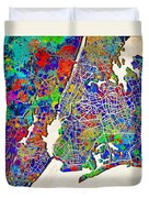 New York Map Abstract 2 Duvet Cover