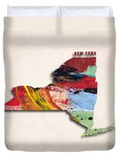 New York Map Art - Painted Map Of New York Duvet Cover