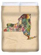 New York Map Vintage Watercolor Duvet Cover