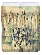 New York Roof Party - Watercolor Ink Duvet Cover