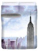 New York Skyline And Blimp Duvet Cover