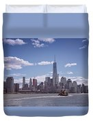 New York Skyline And Boat Duvet Cover