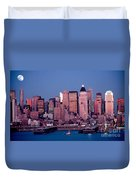 New York Skyline At Dusk Duvet Cover