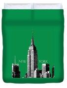 New York Skyline Empire State Building - Forest Green Duvet Cover