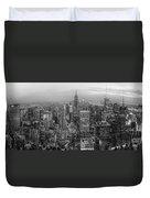 New York Skyline Panorama Bw Duvet Cover