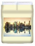 New York Skyline Sunset Duvet Cover