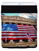 New York Stock Exchange With Us Flag Duvet Cover