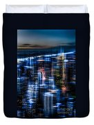 New York - The Night Awakes - Blue I Duvet Cover