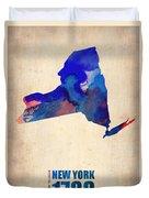 New York Watercolor Map Duvet Cover