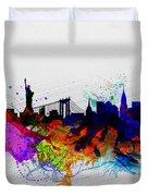New York  Watercolor Skyline 1 Duvet Cover
