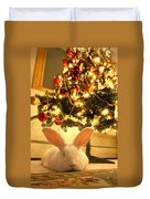 New Zealand White Rabbit Under The Christmas Tree Duvet Cover