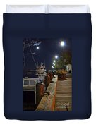 Newburyport Docks Full Moon Duvet Cover