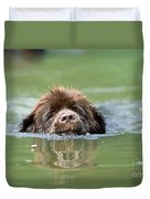 Newfoundland Dog, Swimming In River Duvet Cover