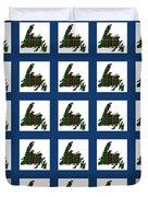 Newfoundland Tartan Map Blocks Blue Trim Duvet Cover