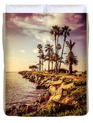 Newport Beach Jetty Vintage Filter Picture Duvet Cover