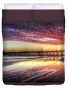 Newport Beach Pier Sunset Duvet Cover