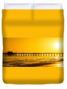 Newport Beach Pier Sunset Panoramic Photo Duvet Cover