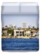 Newport Beach Skyline And Waterfront Homes Picture Duvet Cover by Paul Velgos