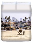 Newport Beach Skyline And Waterfront Luxury Homes Duvet Cover
