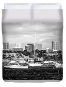 Newport Beach Skyline Black And White Picture Duvet Cover by Paul Velgos