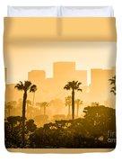 Newport Beach Skyline Morning Sunrise Picture Duvet Cover by Paul Velgos