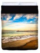 Newport Pier Photo In Newport Beach California Duvet Cover by Paul Velgos