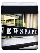 Newspapers Stand Sign In Chicago Duvet Cover by Paul Velgos