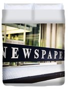 Newspapers Stand Sign In Chicago Duvet Cover
