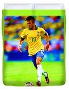 Neymar Soccer Football Art Portrait Painting Duvet Cover