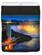 Niagara American Falls At Night Duvet Cover