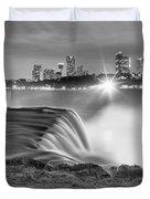 Niagara Falls Black And White Starbursts Duvet Cover
