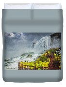 American Falls Niagara Cave Of The Winds Duvet Cover