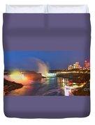 Niagara Falls Night Lights Panorama Duvet Cover
