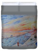 Nice French Riviera Beach Shower Duvet Cover