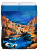 Night Colors Over Riomaggiore - Cinque Terre Duvet Cover by Elise Palmigiani