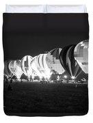 Night Glow Hot Air Balloons Bw Duvet Cover