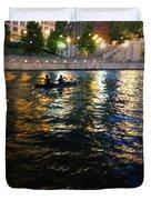 Night Kayak Ride Duvet Cover by Margie Hurwich