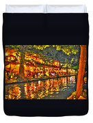 Night Life By The River Walk Duvet Cover