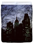 Night Lights Empire State Two Trees Duvet Cover