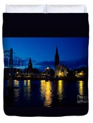 Night Lights In Inverness Duvet Cover