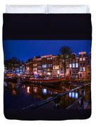 Night Lights On The Amsterdam Canals. Holland Duvet Cover by Jenny Rainbow