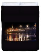 Night On Santa Monica Beach Pier With Bright Colorful Lights Reflecting On The Ocean And Sand Fine A Duvet Cover
