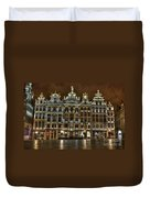 Night Time In Grand Place Duvet Cover