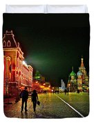 Night View Of Gum And Saint Basil Cathedral In Red Square In Moscow-russia Duvet Cover