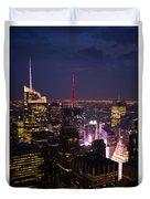 Night View Of New York Duvet Cover