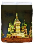 Night View Of Saint Basil Cathedral In Red Square In Moscow-russia Duvet Cover