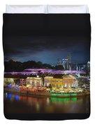 Nightlife At Clarke Quay Singapore Aerial Duvet Cover