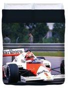 Niki Lauda. 1985 Portuguese Grand Prix Duvet Cover