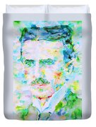 Nikola Tesla Watercolor Portrait Duvet Cover