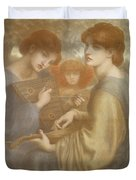 No. 1011 Study For The Bower Meadow Duvet Cover by Dante Gabriel Charles Rossetti